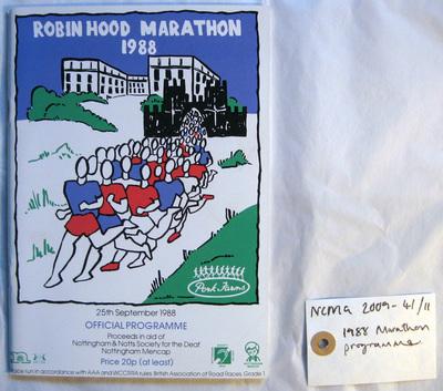 official programme: 1988 Pork Farms Robin Hood Marathon Nottingham 25th September