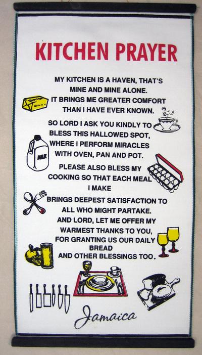 prayer hanging: 'Kitchen Prayer'