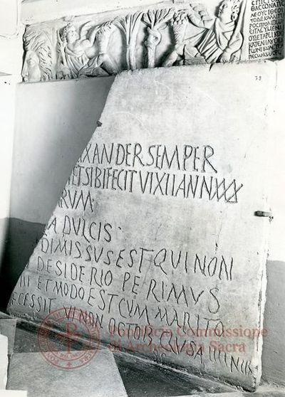 Inscription from Rome, Incertum locum in coem. Domitillae - ICVR III, 8440