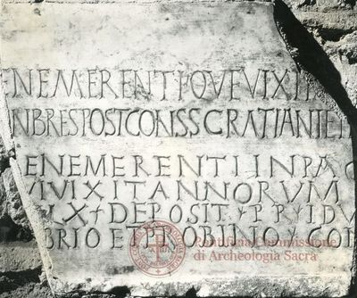 Inscription from Rome, Basilica ss. Nerei et Achillei in coem. Domitillae - ICVR III, 8149