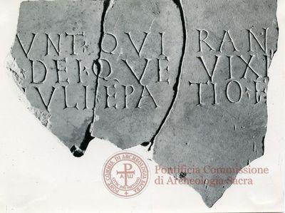 Inscription from Rome, Coem. subdiale ad Catacumbas - ICVR V, 13305