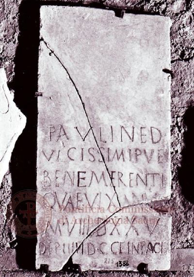 Inscription from Rome, Coem. subdiale ad Catacumbas - ICVR V, 13602