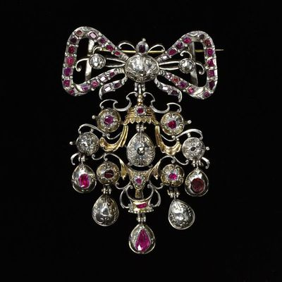 Pendant with slide, rose-cut diamonds and brilliant-cut rubies set in silver, northern Europe, early 18th century. Pendant with slide, rose-cut diamonds and brilliant-cut rubies set in silver, parcel-gilt.  Diamonds, rubies with silver-gilt.