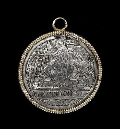 Silver and partially gilded medallion pendant, engraved with Christ in the tomb and St George and the Dragon, made in Germany, about 1520-30. Silver and partially gilded medallion pendant of circular form, with a coiled wire frame and suspension loop above. On the obverse a scene of the Resurrection, on the St George and the Dragon.  Silver, engraved and gilded.