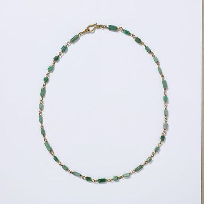 Necklace, gold links with variscite beads (one amazonite) polished into hexagonal prisms in imitation of emerald, Roman Empire, about 100-200. Necklace of gold links with variscite beads (one amazonite), polished into hexagonal prisms in imitation of emerald.  Gold, variscite, amazonite.