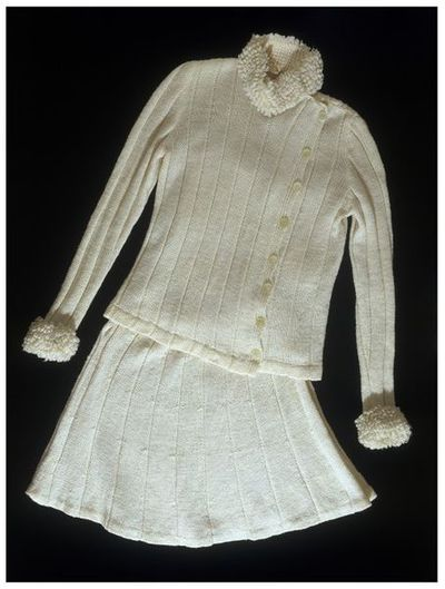 Hand knitted wool jacket and skirt, made by Sally Levison, Malta, 1968-1970.