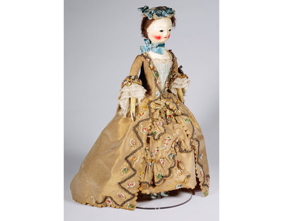 Wooden fashion doll with costume and accessories, England, 1755-1760.