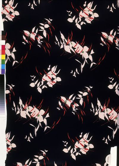 Dress fabric of screen-printed rayon crêpe, made by Calico Printers' Association, England, 1935.
