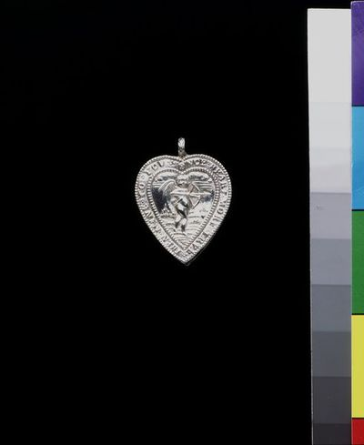 Heart-shaped silver locket, made in England, 1670-1680.