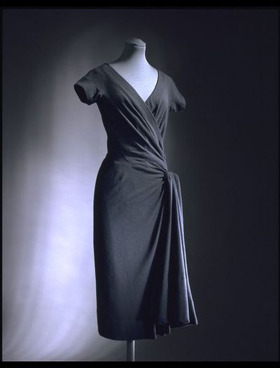 Afternoon dress of jersey, silk and wool, designed by Madame Grès, Paris, 1957-1959.