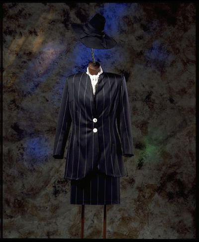 Jacket and skirt, black and white striped, wool, British, 1994, part of woman's (replica) zoot suit (Streetstyle exhibition).