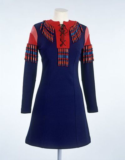 Woollen jersey day mini-dress with wooden and plastic beads, designed by Jeff Banks, London, ca. 1967.