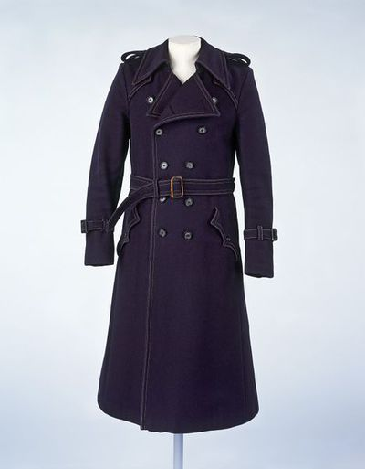 Wool overcoat with leather belt, retailed by Lord John, Great Britain, ca. 1968.