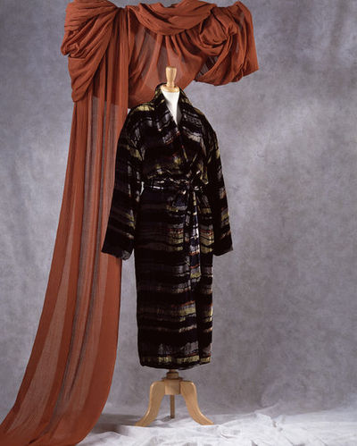 Dressing gown and belt, green, rust and black striped velvet rayon with silk lining, by Georgina von Etzdorf, A/W 1995, Great Britain.