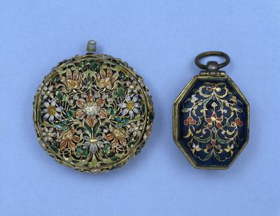 Watch, enamelled gilt brass of floral design, signed 'A Bloys.', France, in an early 17th century style but possibly mid 19th century. Enamelled gilt brass watch of floral design, signed 'A Bloys.'  Gilt brass, enamelled.