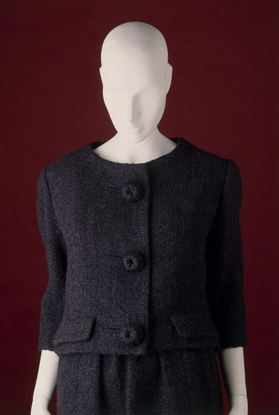 Suit consisting of wool jacket and skirt, designed by Cristóbal Balenciaga, Paris, August 1960.