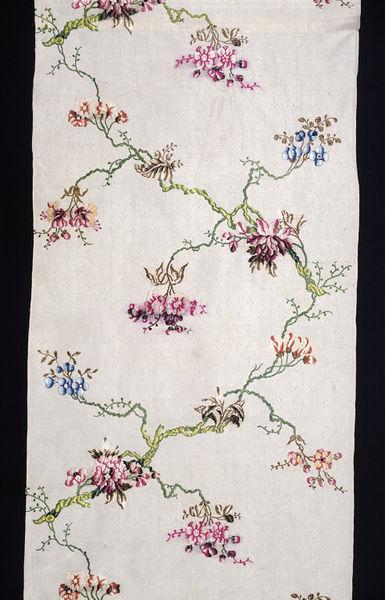 Dress fabric of brocaded silk, designed by Anna Maria Garthwaite, Spitalfields, London, 1748.