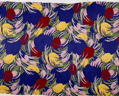 Printed cotton and rayon, satin face dress fabric, Calico Printers' Association, Manchester, 1933.