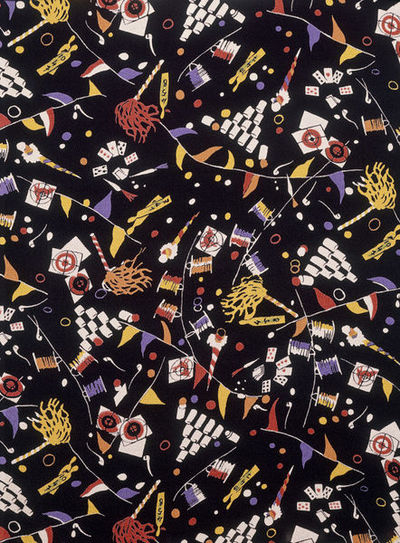 Dress fabric of printed rayon crêpe, made by Calico Printers' Association, Great Britain, 1936.