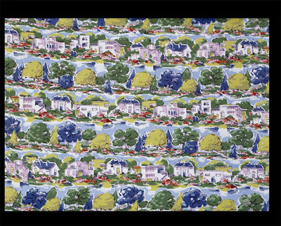 Dress fabric of printed rayon crêpe, 'Riverside'; made by Calico Printers' Association, Great Britain, 1946.