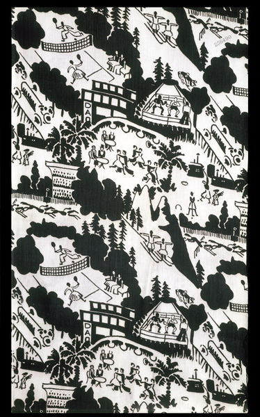 Dress fabric of printed rayon, Sports, made by Calico Printers' Association, Great Britain, 1928.