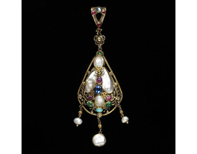 Pendant, gold openwork, pearls, blister pearls sapphires, emeralds, rubies, moonstone, turquoise, designed by Henry Wilson and made at his workshop, London, about 1900. Pendant of gold openwork, pearls, blister pearls sapphires, emeralds, rubies, moonstone, turquoise. At the back, hidden by the pearls, a pendant relief of the Virgin and Child with the legend 'MATER CHRISTI', probably embossed b Felice Signorelli. Maker's mark HW in monogram.  Gold openwork, gold openwork, pearls, blister pearls sapphires, emeralds, rubies, moonstone, turquoise.