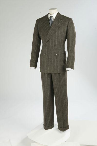 Man's suit, jacket, waistcoat and trousers, wool, brown pinstripe, Radford & Jones, Great Britain, 1937.