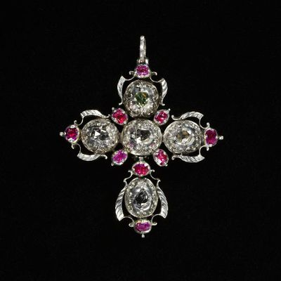 Pendant cross with rose-cut diamonds and rubies set in silver, Northern European, 18th century. Pendant cross with rose-cut diamonds and rubies set in silver, backed with gold.  Rose-cut diamonds and rubies set in silver, backed with gold.