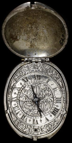 Watch with case of tulip form, silver parcel-gilt, the dial engraved, movement signed 'Henry Grendon at ye Exchange Fecit', England, London, about 1630. Watch with case of tulip form, silver parcel-gilt, the dial engraved, signed 'Henry Grendon at ye Exchange Fecit'.  Engraved, parcel gilt silver.