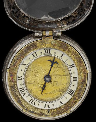 Engraved and pierced silver watch with a gilt brass dial, signed 'Eduardus East Londini', England, London, about 1640. Engraved and pierced silver watch with a gilt brass dial, signed 'Eduardus East Londini'.  Engraved and pierced silver with gilt brass.