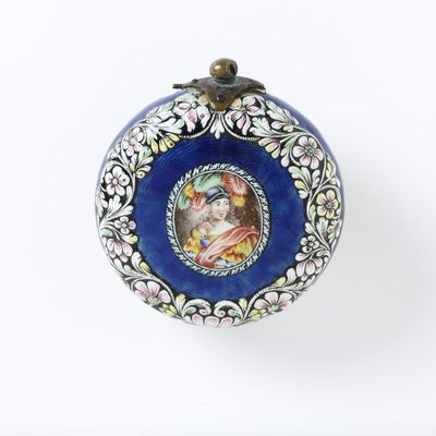 Watch of enamelled and gilt brass, signed 'Pieter Visbach Haghe', made in The Hague, Holland, 1660-1670. Enamelled and gilt brass watch, signed 'Pieter Visbach Haghe'.  Enamelled and gilt brass.