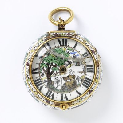 Watch, gold case with painted and 'braisse taille' enamel, the movement signed 'Simon Hackett Londini', England, London, about 1650. Watch of enamelled and gilt brass, signed 'Simon Hackett Londini'.  Enamelled and gilt brass.