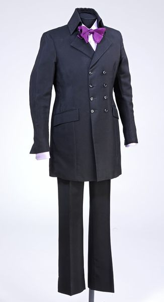 Man's suit consisting of a mohair double-breasted jacket and trousers, retailed by Take Six, London, 1967.