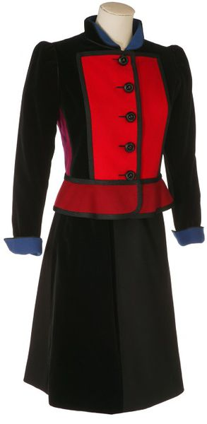 Wool and velvet jacket with a short skirt and belt, designed by Yves Saint Laurent, Paris, 1979.