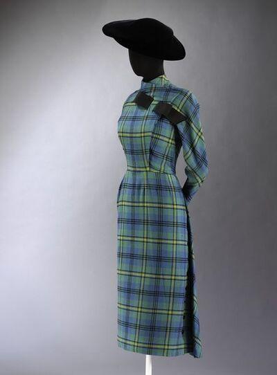 Day dress of Johnston woollen tartan, designed by Jacques Fath, Paris, 1949-1950.