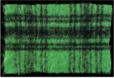 Dress fabric sample of woven mohair, wool and nylon mix, made by Ascher Ltd., Great Britain, 1957.