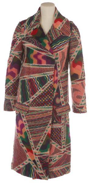 Multi-coloured patchwork knit coat.