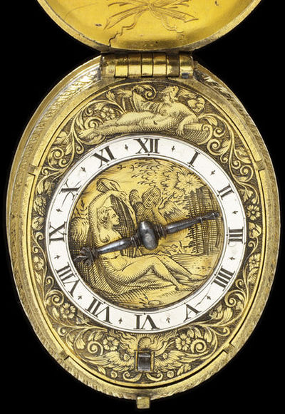 Engraved silver and gilded brass, signed 'Edm. Bull in Fleetstreet Fecit.', made in London by Edmond Bull, Fleet Street, 1610-1620. Watch with a case and dial of engraved gilt brass and silver, signed 'Edm. Bull in Fleetstreet Fecit.'  Engraved gilt brass and silver.