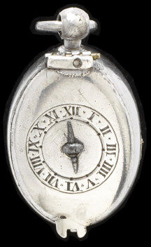 Silver watch case, originally with a leather pair case, with key, movement signed 'R. Crayle', England, London, about 1650. Silver watch case, originally with a leather pair case, with key, signed 'R. Crayle', England, early 17th century.  Engraved silver.