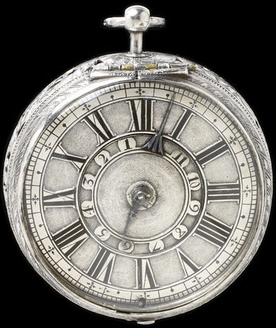 Watch of engraved and pierced silver, signed 'Jose(ph) Knibb, London', London, 1670-5. Watch of engraved and pierced silver, signed 'Jose(ph) Knibb, London'.  Engraved and pierced silver.