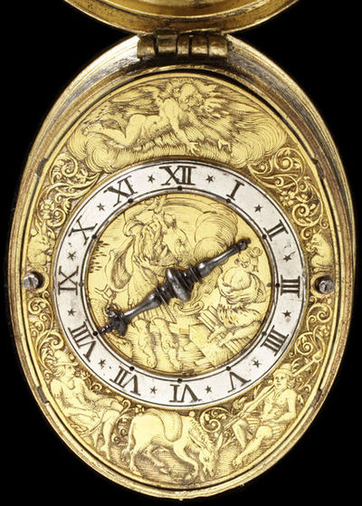 Watch, engraved gilt brass and silver with a sundial inside the back, signed 'Gribelin A Blois', France, dated 1614. Engraved gilt brass and silver watch, signed 'Gribelin A Blois'. Inside the back is a sundial.  Engraved silver and gilded brass.