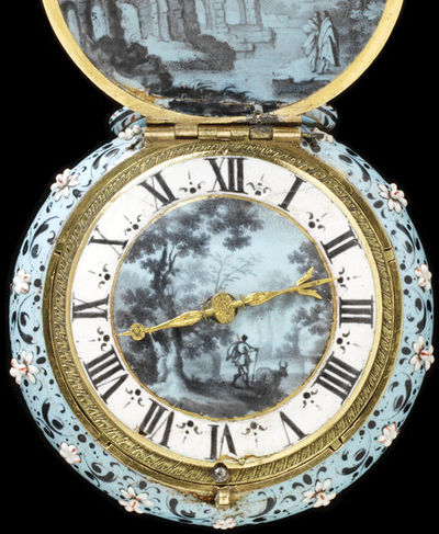 Watch with a case and dial of painted enamel and gilt brass, movement signed 'Eduardus East Londini', England, ca.1640. Watch with a case and dial of painted enamel and gilt brass, signed 'Eduardus East Londini'.  Painted enamel and gilt brass.