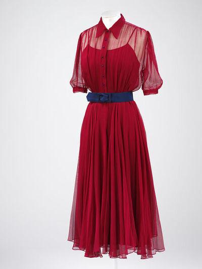 Wedding dress, red silk gauze, blue buttons, 1938, British.