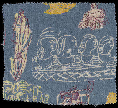 Sample dress fabric of printed rayon, designed by Henry Moore, made for Ascher Ltd., Great Britain, 1945.