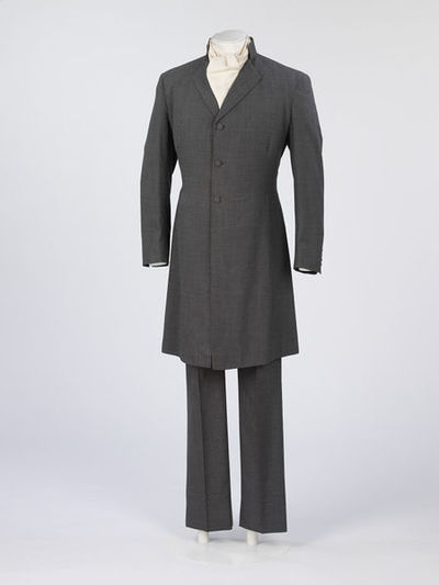 Man's wedding suit, grey cloth, consisting of a frock coat and trousers, designed by Mr Fish, London, 1967.