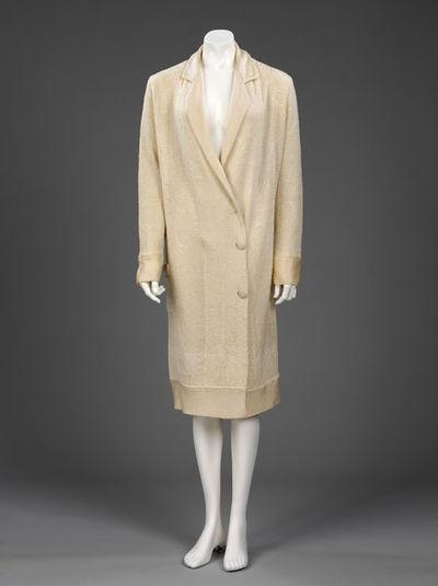 Women's coat of knitted wool mixed with rayon, England, ca. 1926.
