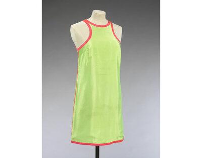 F, 1966-68, Bates, John for Jean Varon. Fluorescent lime green viscose/nylon blend, hot pink binding.