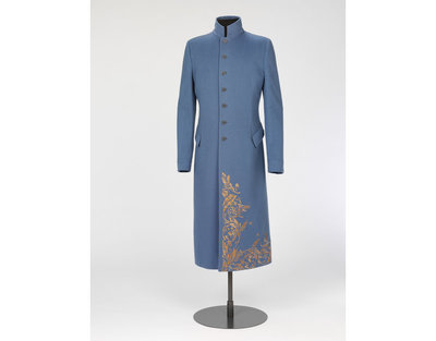 Coat, periwinkle blue cashmere blend coat with tan embroidery, Alexander McQueen, designed in England, made in Italy, ca. 1995.