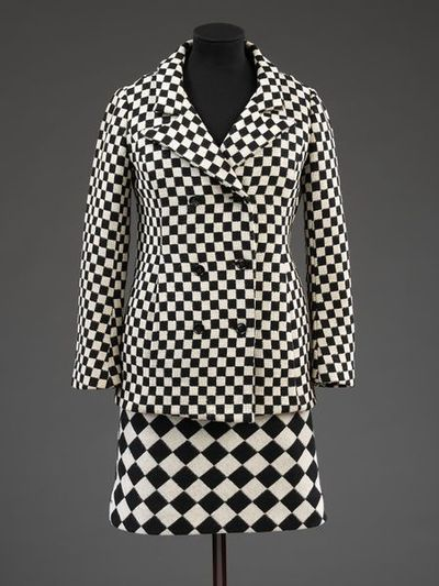 Skirt suit, jacket and skirt, black and white optical check wool, Foale & Tuffin, London, 1964.