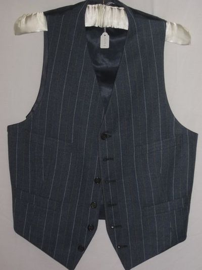 Man's waistcoat, blue/grey pinstripe wool, Great Britain, 1930-1939.Blue/grey pinstripe wool waistcoat.Wool.